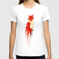 watercolor T-shirts featuring The fox, the forest spirit by Picomodi