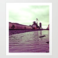 Art Print featuring Railway rainwater by Vorona Photography