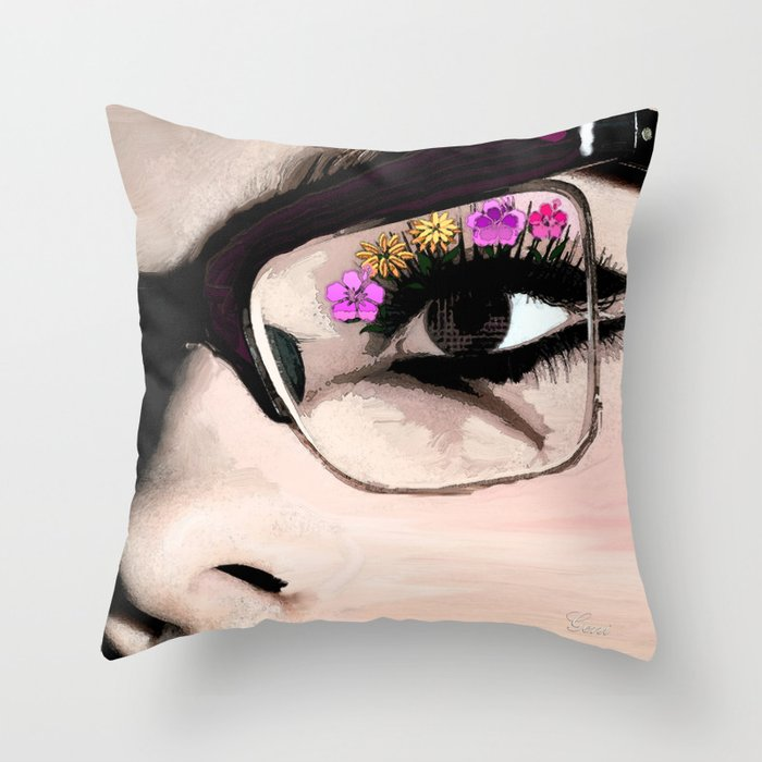 Eyelash Decorative Pillow : Eyelashes in Bloom Throw Pillow by Geni Society6