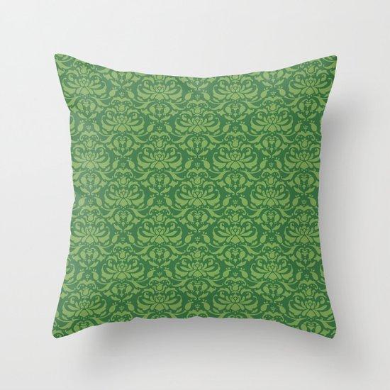 Cloud Factory Damask - Watergrass Throw Pillow