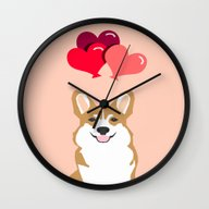 Wall Clock featuring Corgi Heart Balloon - Cu… by PetFriendly