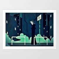 The First Bus Stop Art Print