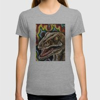 Rainbow Raptor:: Colorful Dinosaur Womens Fitted Tee Athletic Grey SMALL