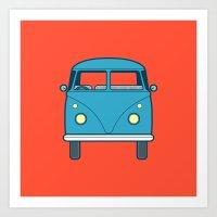 #53 Volkswagen Type 2 Splitscreen Bus Art Print