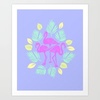 Flamingos In Paradise  Art Print