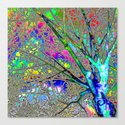 Digital Tree Neon Canvas Print