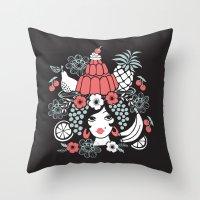 Jelly Miranda - Black Throw Pillow