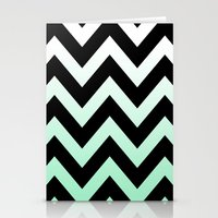 BLACK CHEVRON MINT FADE Stationery Cards