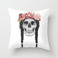 Skull with floral crown Throw Pillow