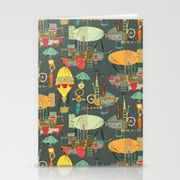 steampunk sky dark Stationery Cards
