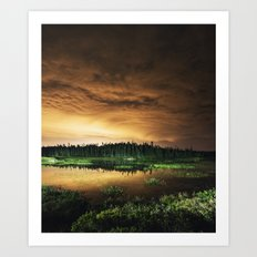 Light Polluted Lake Art Print