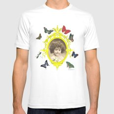 Butterfly girl White SMALL Mens Fitted Tee