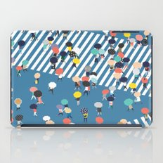 Crossing The Street On a Rainy Day - Blue iPad Case