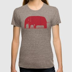 Elephanticus Roomious Womens Fitted Tee Tri-Coffee SMALL
