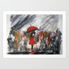 Girl In Red Raincoat Umbrella Rainy Day Fine Art Print Of Acrylic Painting Art Print
