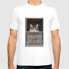 Scaredy Cat White SMALL Mens Fitted Tee