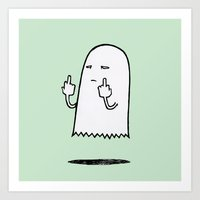 Double F-You Ghost (Green) Art Print
