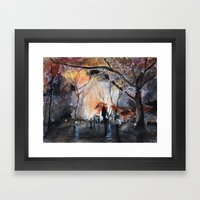 Autumn Rain - Watercolor Framed Art Print