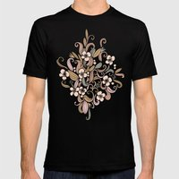 Floral curve pattern, rose gold Mens Fitted Tee Black SMALL