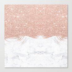 Trendy modern faux glitter rose gold brushstrokes white marble  Canvas Print