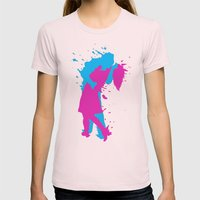 K I S S 3D Womens Fitted Tee Light Pink SMALL