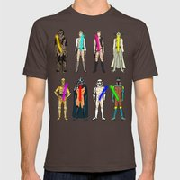 Glow in the Dark Naughty Starwars Lightsabers  Mens Fitted Tee Brown SMALL
