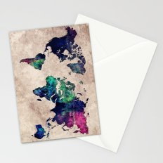 World map watercolor 1 Stationery Cards