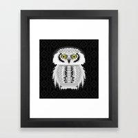 Geometric Snowy Owl Framed Art Print