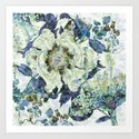 floral in blue Art Print