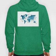 World Map Blue Hoody