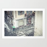Green Umbrella In Snow Art Print