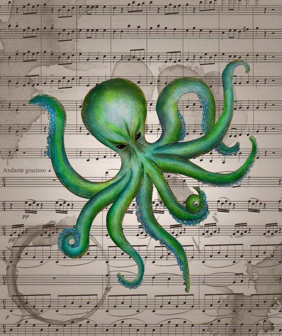Green Octopus Art Print