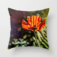 Glowing Poppy  Throw Pillow