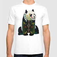 panda ochre Mens Fitted Tee White SMALL