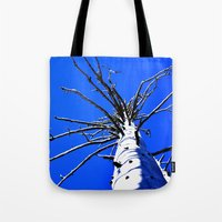 Blue Sky Old White Tree … Tote Bag