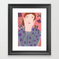 Girl In Polka Dot Sweate… Framed Art Print