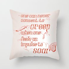 Soar - Illustrated quote of Helen Keller Throw Pillow