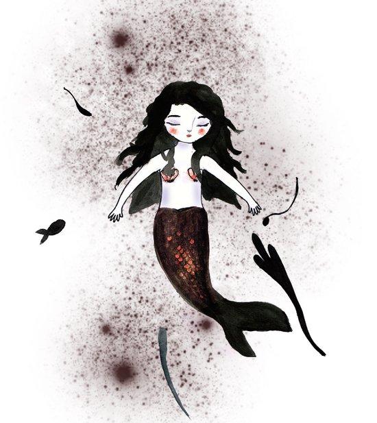 Noir Mermaid Art Print