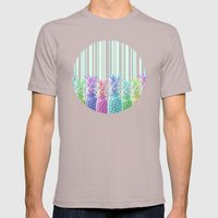 Pastel Jungle and Stripes Mens Fitted Tee Cinder SMALL