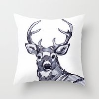 Oh My Deer Black And Whi… Throw Pillow