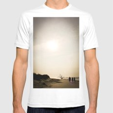 Stroll along the Beach Mens Fitted Tee SMALL White