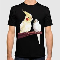 Budgie And Cockatiel Mens Fitted Tee Black SMALL