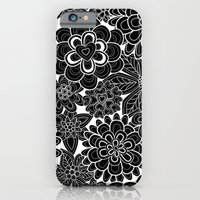 iPhone & iPod Case featuring Happy flowers in black.  by Juliagrifol designs