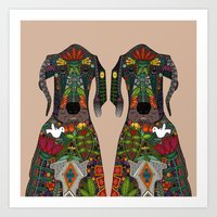 Great Dane Love Beige Art Print