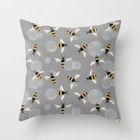 Bubble Bees Throw Pillow
