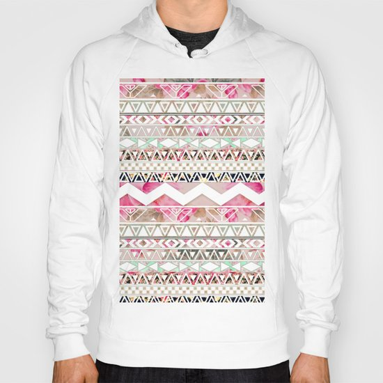 Aztec Spring Time! | Girly Pink White Floral Abstract Aztec Pattern Hoody
