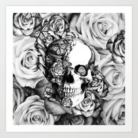 Butterfly rose skull with ladybugs. Good luck Art Print