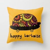 Happy Tortoise Throw Pillow