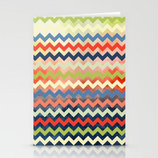 Watercolor Chevron Stationery Card
