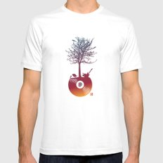 Vinyl Tree 2 White SMALL Mens Fitted Tee